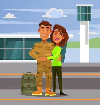 Brave happy smiling soldier man character come back home to his wife girlfriend woman