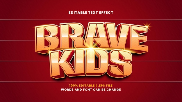 Brave kids editable text effect in modern 3d style