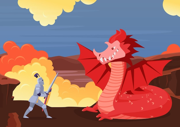 Brave knight fighting dragon fairy tale scenery with fight between warrior and monster