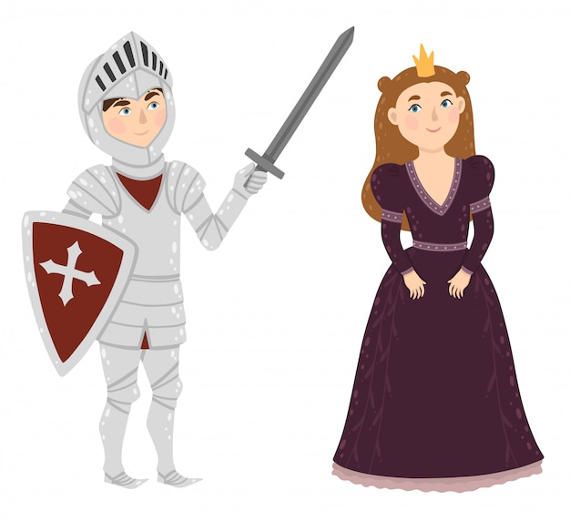 Brave knight and princess. medieval characters.