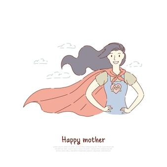 スーパーヒーローの姿勢で立っている勇敢な母親