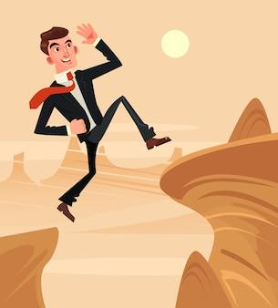 勇敢なサラリーマンのビジネスマンのキャラクターが障害物を飛び越えます。