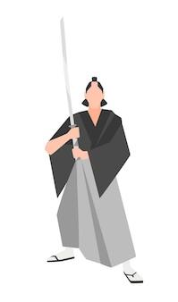 Храбрый воин-самурай, изолированные на белом фоне. отважный японский исторический персонаж в кимоно с традиционным мечом катана. векторная иллюстрация в плоском мультяшном стиле для логотипа.
