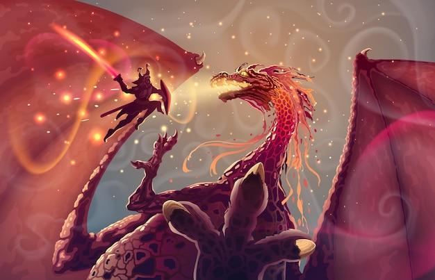 Brave samurai warrior with sword attacks a japanese fantasy dragon monster in flight