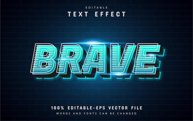 Brave text effect with line pattern