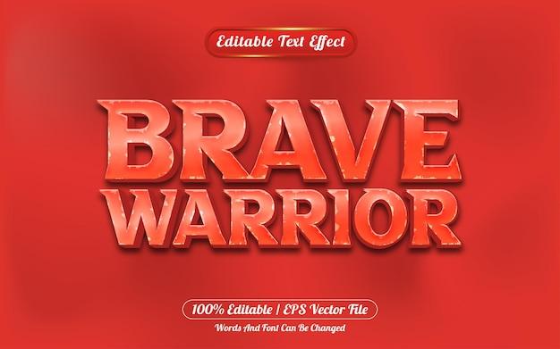 勇敢な戦士の3d編集可能なテキスト効果ゲームスタイル