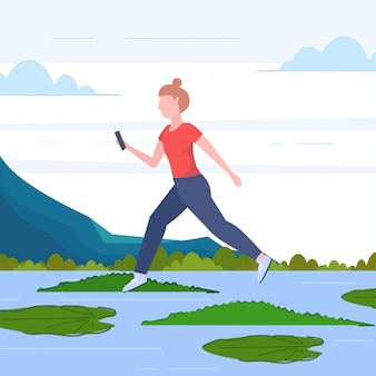 Brave woman using smartphone jumping over lotus leaves on river with crocodiles risk and danger determination digital addiction concept full length flat