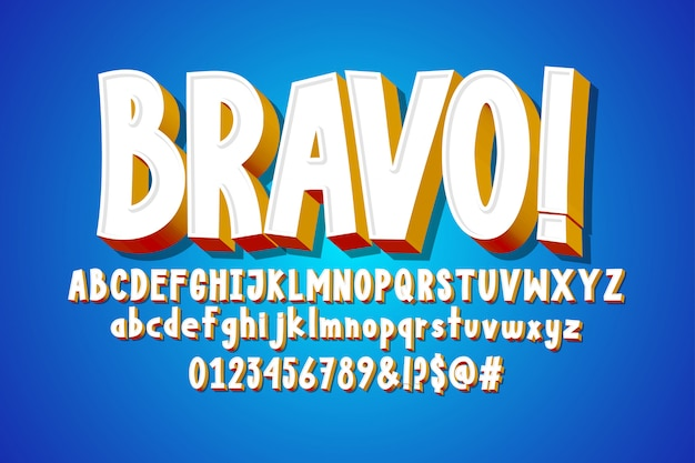Bravo text, 3d alphabet, comic font effect