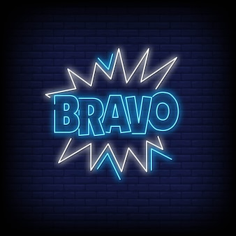 Bravo word in neon style. bravo neon signs