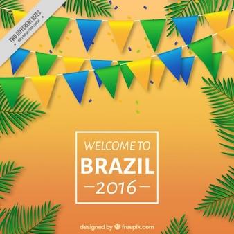Brasile 2016 con ghirlande e foglie di palma sfondo