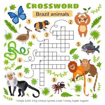 브라질 동물 낱말. 미취학 아동 활동 워크시트용. 단어 찾기 퍼즐 게임을 건너는 어린이