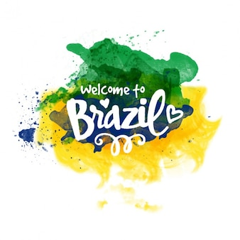 Brazil background painted with watercolor