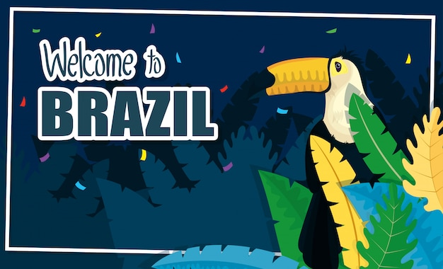Brazil carnival banner with toucan