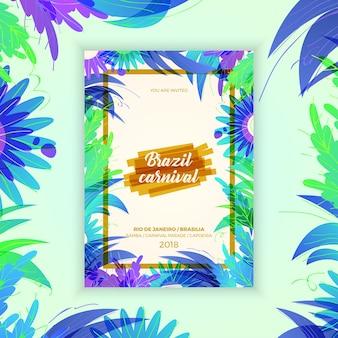Brazil carnival celebration flyer with violet color