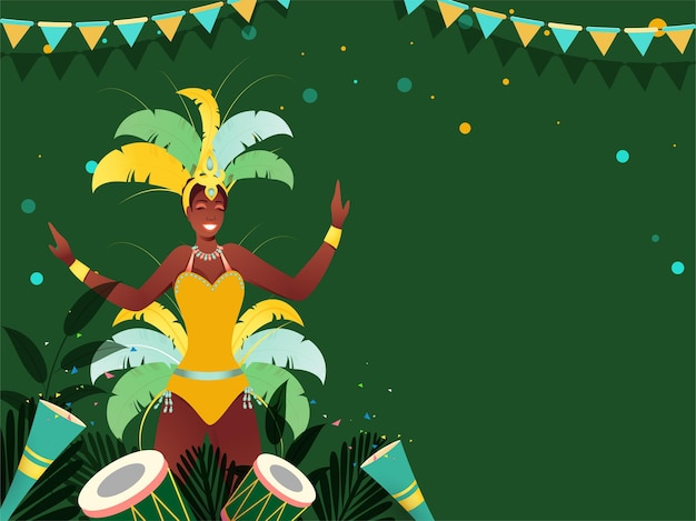 Brazil carnival concept with samba dancer character, drum instruments, leafes and party popper