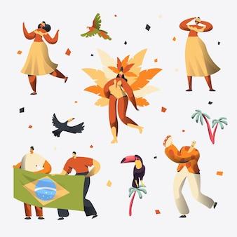 브라질 카니발 댄서 캐릭터 세트.