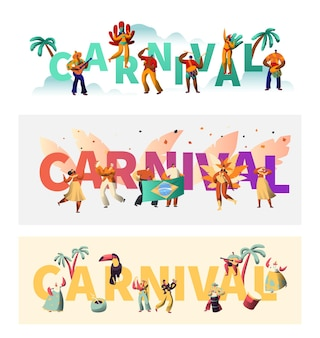Brazil carnival exotic costume typography poster set.