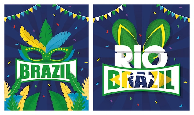 Brazil carnival illustration set with mask and sandals