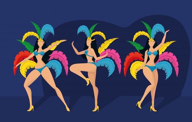 Brazil carnival illustration with beautiful garotas
