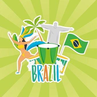 Brazil carnival illustration with corcovade christ