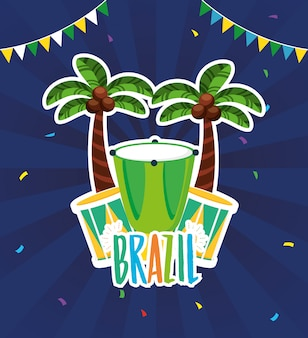 Brazil carnival illustration with drum instrument