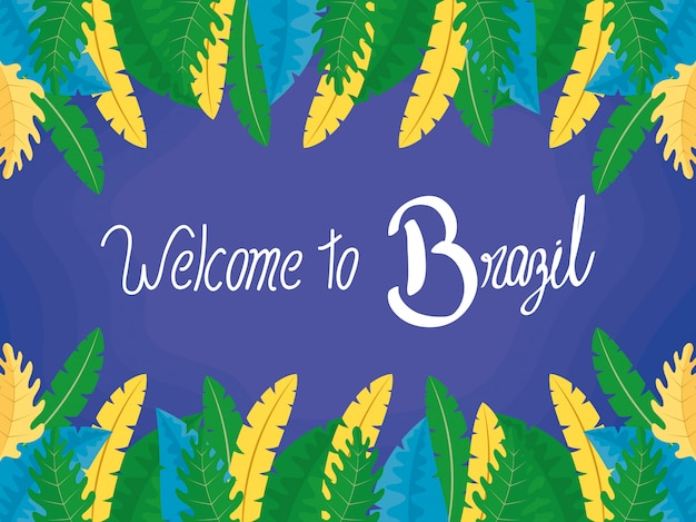 Brazil carnival illustration with lettering and feathers