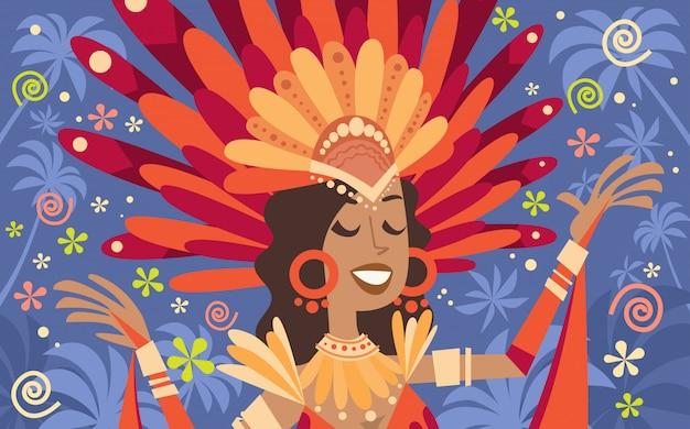 Brazil carnival latin woman wear bright costume traditional rio party illustration