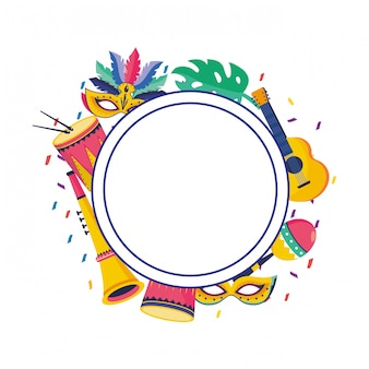 Brazil carnival party round frame background