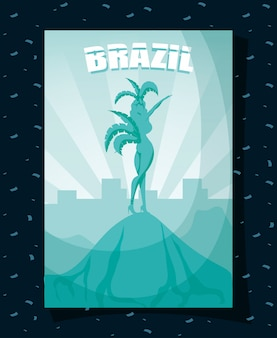 Brazil carnival poster with beautiful garota silhouette