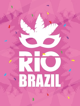 Brazil carnival poster with feathers mask