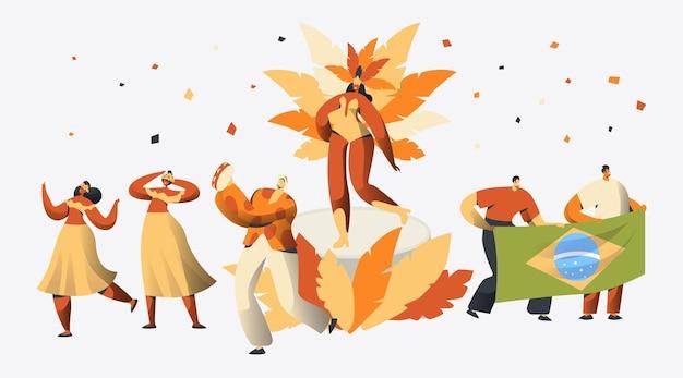 브라질 카니발 삼바 댄서 캐릭터 파티.