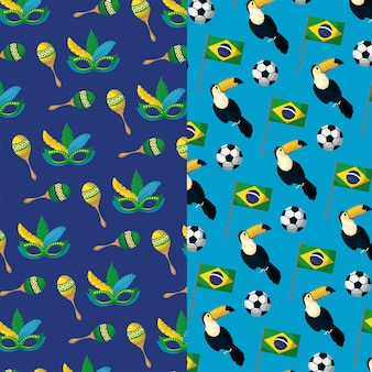 Brazil carnival seamless pattern with mask and toucans