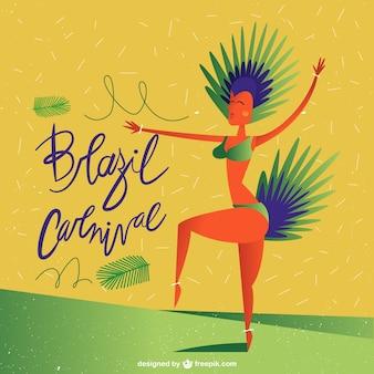 Бразилия карнавал с бразильским танцором фоне