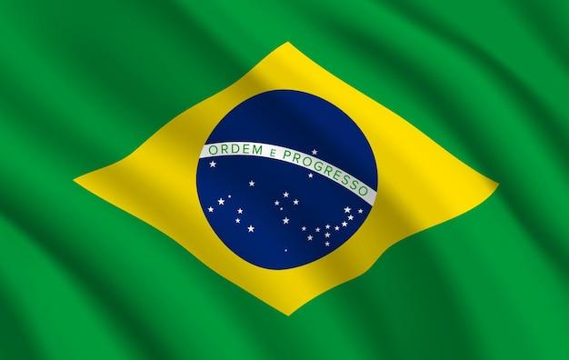 ブラジルの国旗、青い地球、星、線のある緑と黄色のブラジルの公式シンボル。生地の波の3dテクスチャを振る現実的なブラジル連邦共和国の国旗