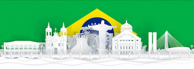Brazil flag and famous landmarks in paper cut style