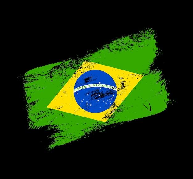 Фон кисти гранж флаг бразилии. старый флаг кисти векторные иллюстрации. абстрактное понятие национального фона.