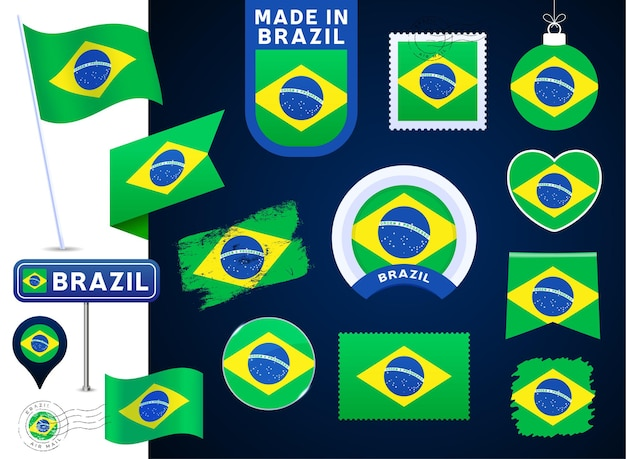 Brazil flag vector collection. big set of national flag design elements in different shapes for public and national holidays in flat style. post mark, made in, love, circle, road sign, wave
