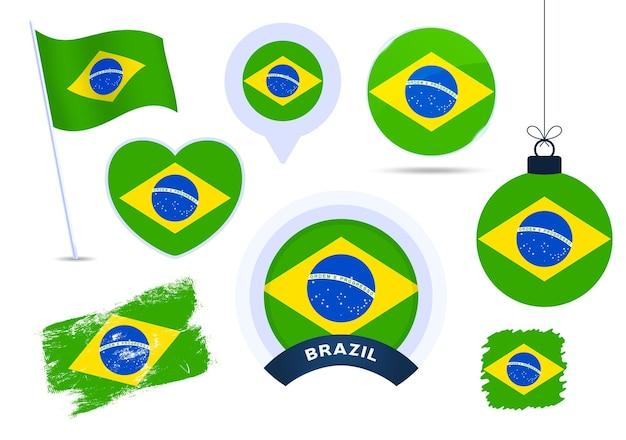 브라질 국기 벡터 컬렉션입니다. 평평한 스타일의 공휴일과 공휴일을 위한 다양한 모양의 국기 디자인 요소의 큰 집합입니다.