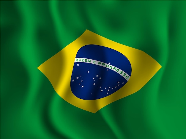 Флаг бразилии в волнистом стиле на день независимости 7 сентября