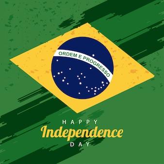 Бразилия счастливое празднование дня независимости с флагом и текстом