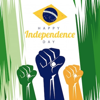 Brazil happy independence day celebration with flag and hands fists painted