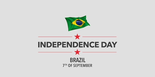 Brazil happy independence day greeting card banner vector illustration
