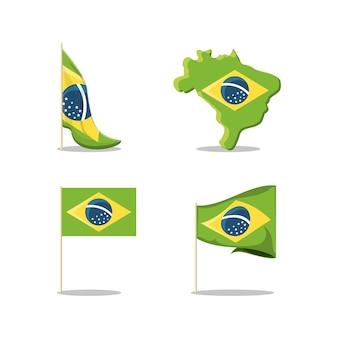 Набор иконок бразилии Premium векторы