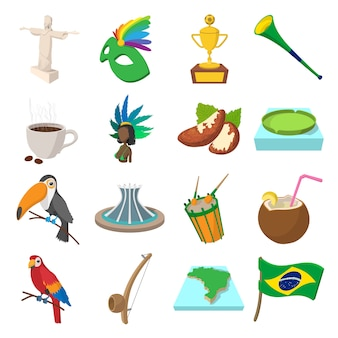 Brazil icons in cartoon style for web and mobile devices