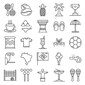 Brazil icons set, outline style