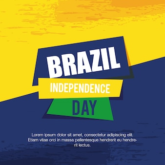 Brazil independence celebration card vector illustration design