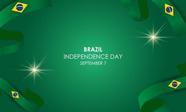 День независимости бразилии 7 сентября реалистичный вектор с воздушными шарами и флагом бразилии