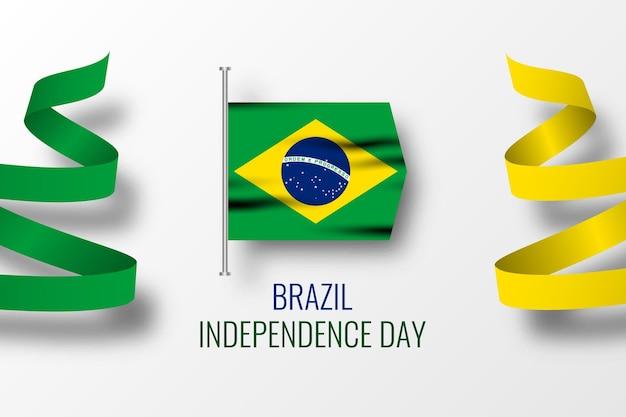 ブラジル独立記念日のお祝いイラストテンプレートデザイン