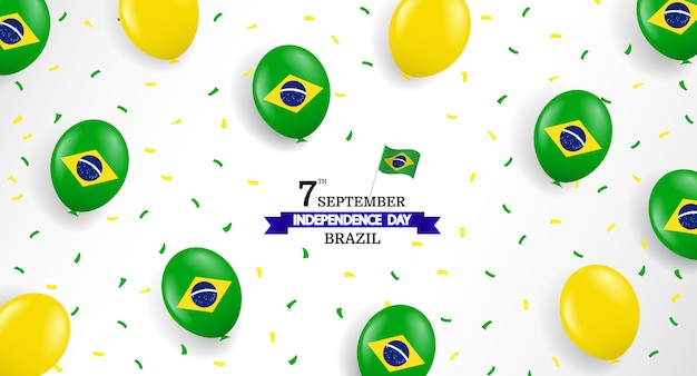 Brazil independence day with balloons and confetti