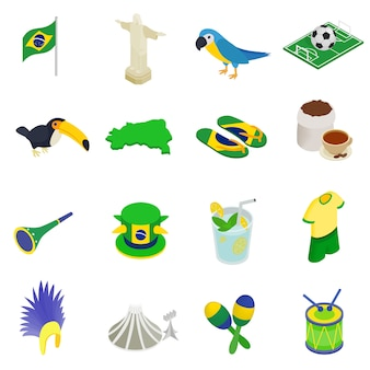 Brazil isometric 3d icons set isolated on white background